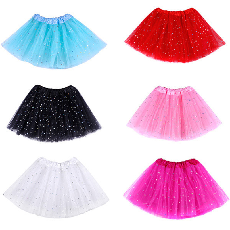 Cute Girls Kids Tutu Skirt Princess Party Ballet Dance Wear 3 Layers Tulle Star Glitter Toddler Girl Performance Costumes Skirt(China (Mainland))