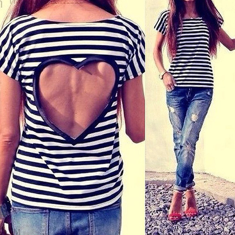 Женская футболка New stripe top t 2015 o VT237 женская футболка new stripe top t 2015 o vt237