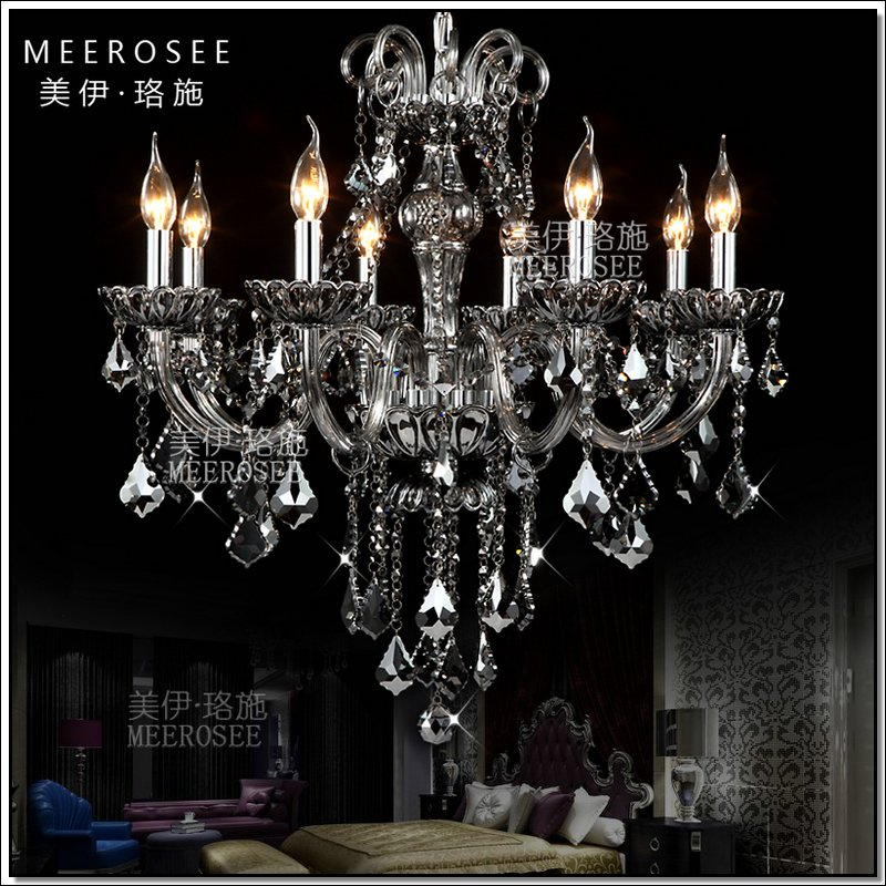 Flush Mount Smoky Gray Crystal chandelier light with 8 Lamps Crystal Feature Glass Pendant Lustre for Living Room MD6609S<br><br>Aliexpress