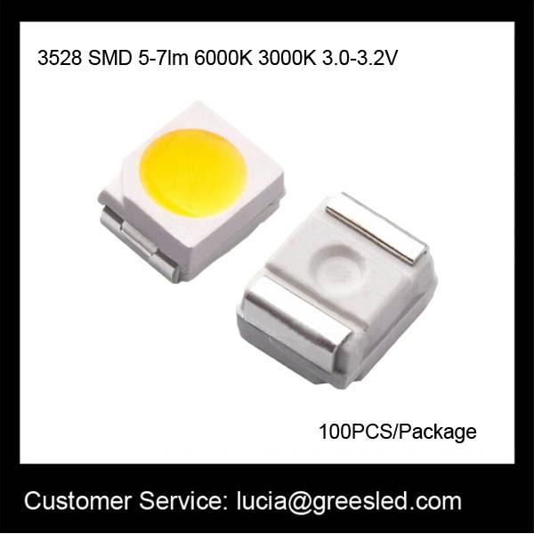 Новая высокой яркости 3528 SMD светодиодные 5-7lm 3.0-3.2 V на 6000К 3000К ток 20мА
