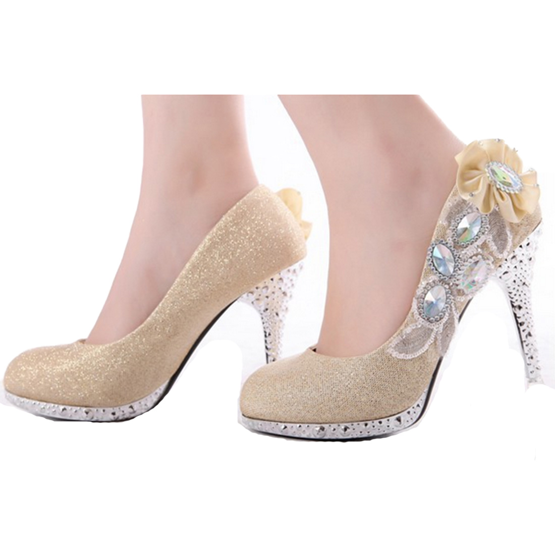 Clear Ladies Party Platform Sexy Sequined Women High Heels Crystal Grace Bridal Rhinestone Wedding Mature Flower Shoes(China (Mainland))
