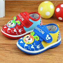 boys girls cartoon bee canvas shoes with sound cotton soft baby toddler shoes(China (Mainland))