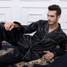 Mens Silk Satin Pajamas  Pyjamas  Set  Sleepwear Set  Loungewear  U.S. S,M,L,XL,XXL,XXXL,4XL_ Plus Size(China (Mainland))