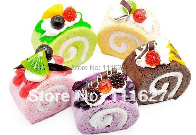 10Pieces/Lot Free Shipping, New Jumbo Squishy Key Rings Buns Cake Roll Key Chains Squishies Cell Phone Straps Accessories Q678