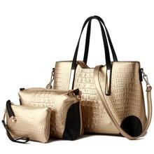 2016 women handbags leather handbag Sac A Main ladies Brand Designer Shoulder Bag handbags+women Messenger Bag+Purse Tote 3 Sets