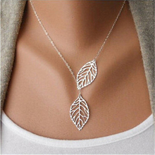 New  Designer Women Fashion Simple 2 Leaves Choker Necklace Collar Statement Necklace Women Jewelry  Cai0043(China (Mainland))