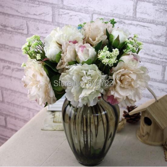 New Fabric 4set Wedding Favors Home Decoration Supplier Artificial Peony Bridal Bouquet Flower Idea Cream Peach Pink FL5057(China (Mainland))