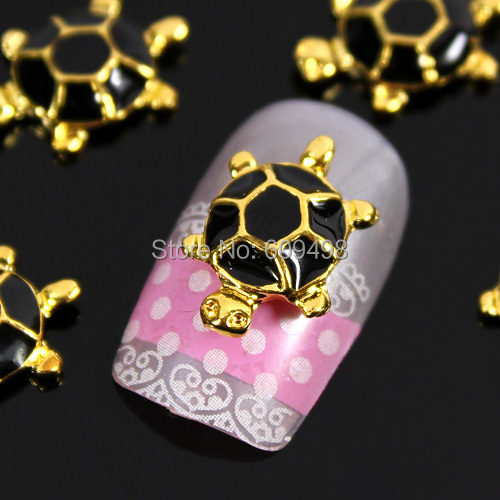 A70 100pcs/lot Newest style alloy Black gold tortoise constellation black shell nail art 3 d fine art design adornment 2 colors(China (Mainland))