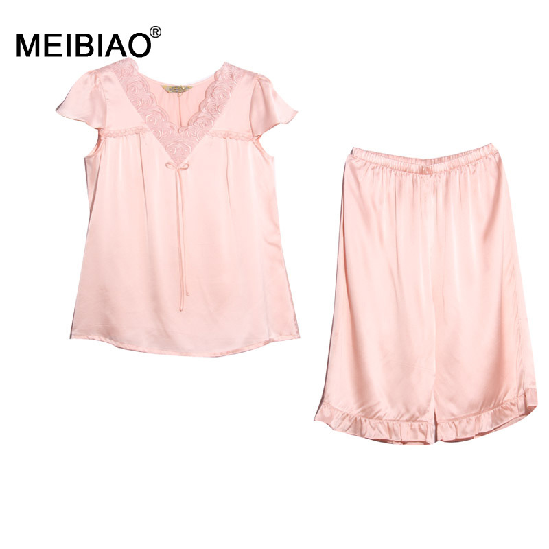 MEIBIAO-Top 10 Brands 100% Natural Silk 2015 Women Summer Pajamas Pink Set Nightgowns Silk Women Nightwear Clothing Suit 020143(China (Mainland))