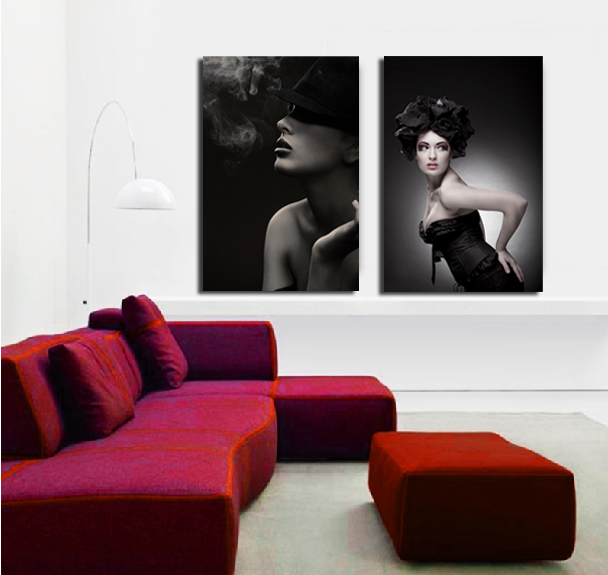 2 Piece Black and white Art Picture Sexy Fashion Woman Lady Oil Painting Prints On Canvas Wall Pictures for Living Room Bedroom(China (Mainland))