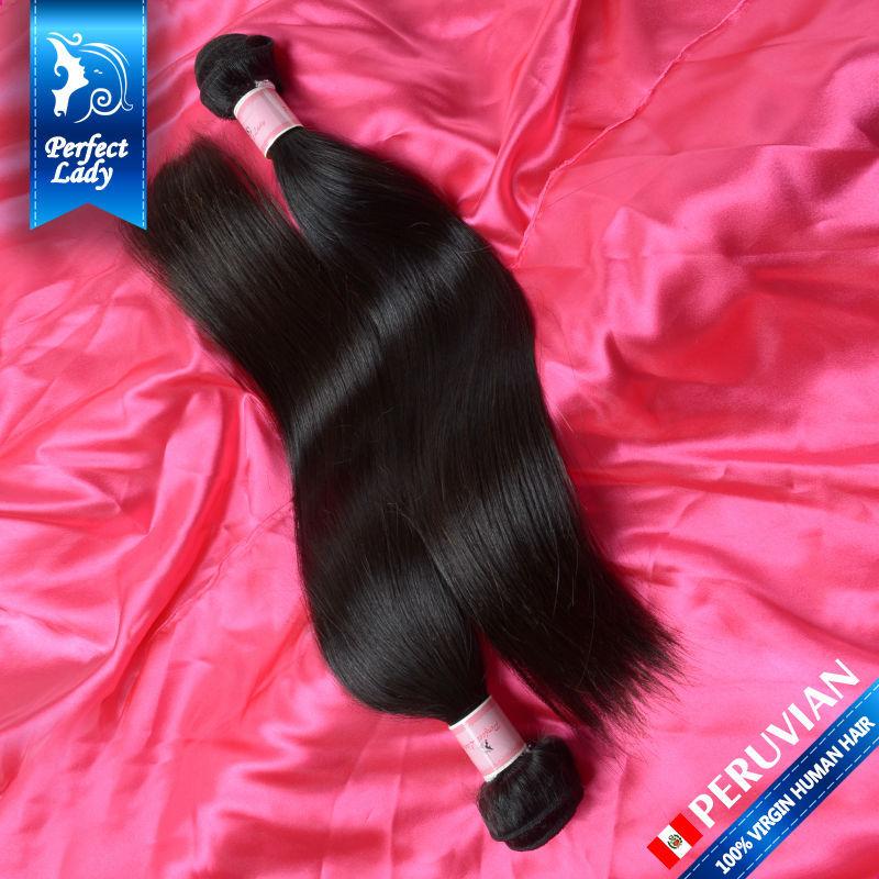 2Pcs Lot 6A Peruvian Virgin Hair Straight 12-26inches Unprocessed Peruvian Straight Human Hair Weave Top Peruvian Virgin Hair(China (Mainland))