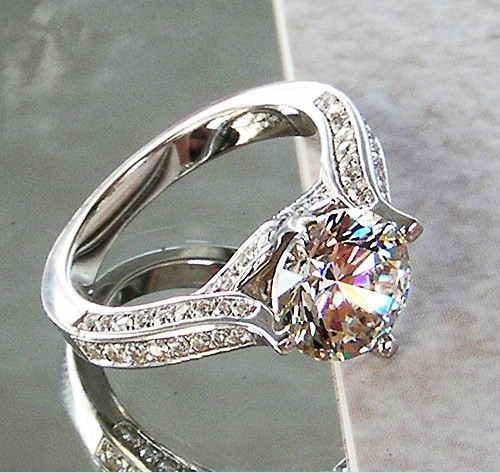 1 Ct Genuine White Gold Dancing Style Non-allergenic Synthetic Diamond Engagement RingGreatest Design Last Forever Never Fade(China (Mainland))