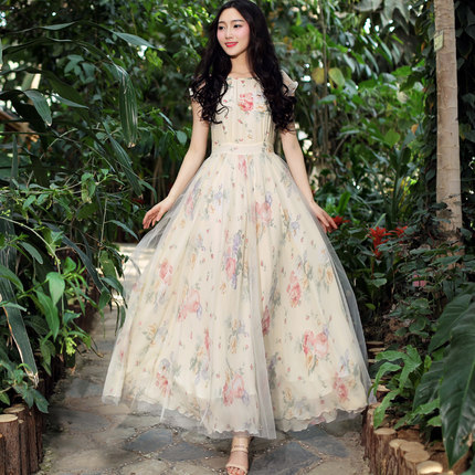 2015 New Long Summer Dress Women Short Sleeve Vintage Floral Print Organza Chiffon Dress Plus Size vestido longo LS867(China (Mainland))
