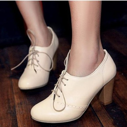 2014 Vintage British Style Lacing Thick Heel Oxford Pumps Shoes Women High-Heeled Oxfords Shoes For Women Plus Size Shoes