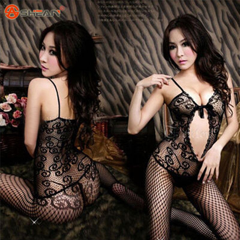 Erotic Lingerie Hot Sexy Costumes Net Transparent Stocking Bodystockings Kimono Pajamas Sleepwear Dress for Women 1 Pcs(China (Mainland))