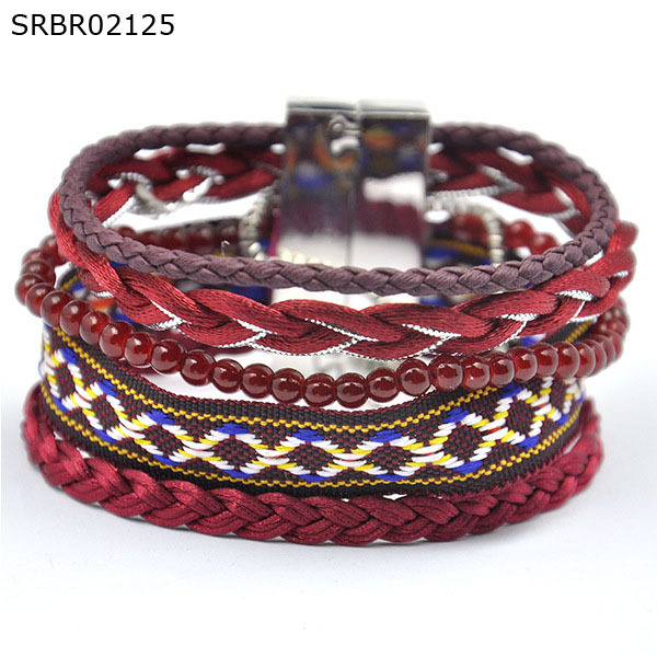Boutique Best Sellers Cuff Wrap Style Jewelry Wine Red Bracelets with Silver Color Magnetic Clasp(China (Mainland))