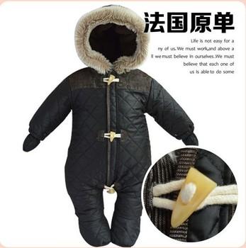 2015 новый ребенок snowsuit пуховик ползунки новорожденный snowsuit снег изнашиваются пиджаки зимний предупредить черный ребенок одежды комбинезон