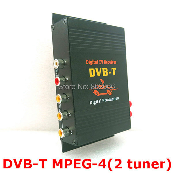 2 Tuners External Mobile DVB-T MPEG-4 Auto DVBT MPEG4 Digital TV Receiver Box With Remote Control For Car DVD GPS Player(China (Mainland))