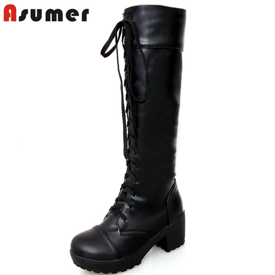 knee high leather boots lace up national sheriffs