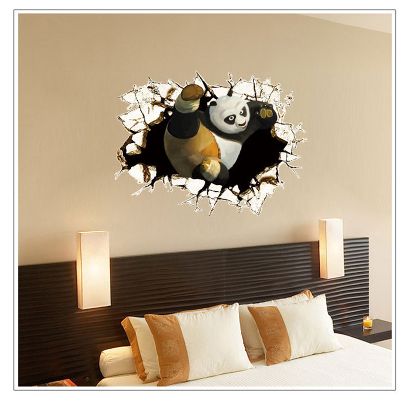 DIY Home Decoration Kung Fu Panda Broken Wall Removable Kids Bed Rooms Decor Creative Vinyl 3D Wall Sticker Decals(China (Mainland))