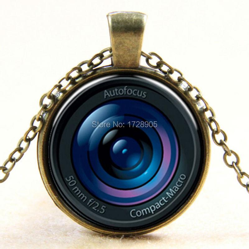 3pcs Silver/Bronze European and American street night market innovative glass pendant digital camera Lens retro fashion necklace(China (Mainland))