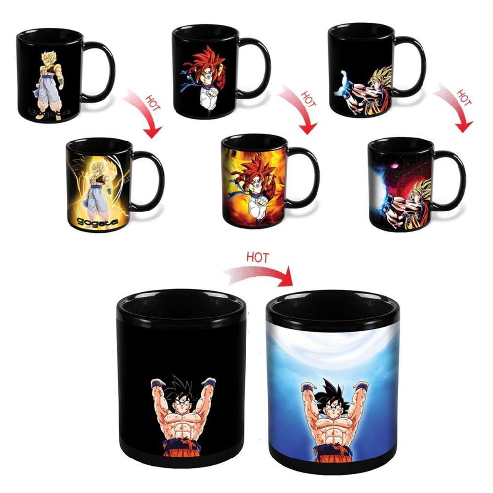 Dragon Ball Z Mug SON Goku Hot Changing Color Change Cup Heat Reactive Ceramic Mugs Super Saiyan Milk Coffee Taza Gogeta Gift(China (Mainland))