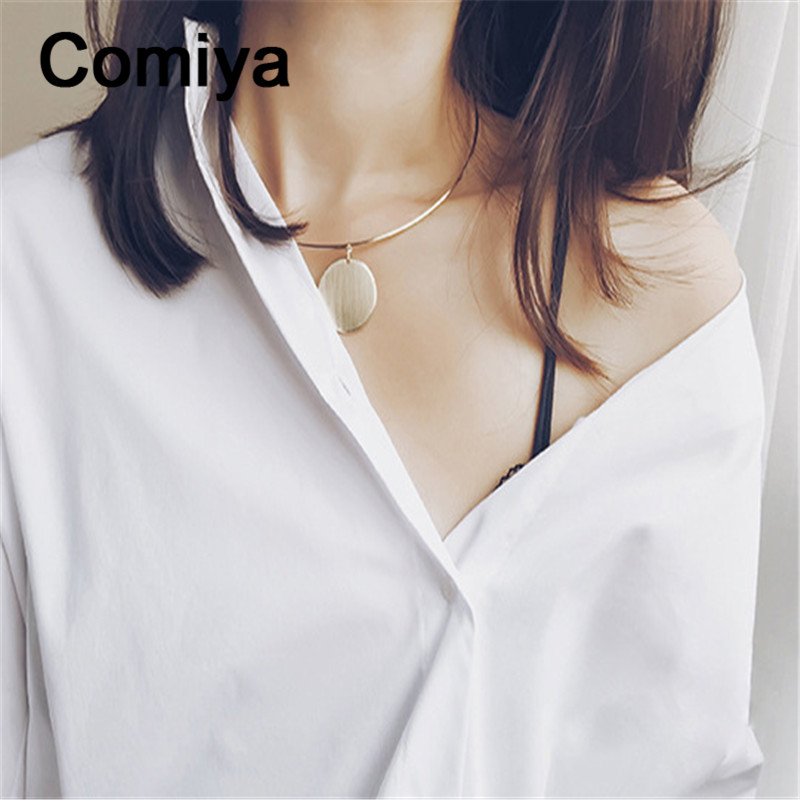 Comiya european chokers necklaces round gold silver pendants necklace for women golden plated colar gargantilha charming(China (Mainland))