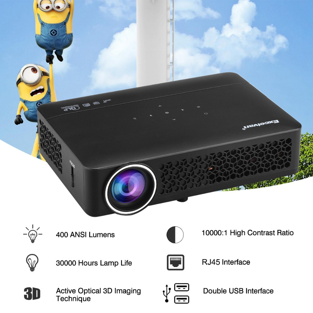 Excelvan DLP800WM DLP Projector Android 4.4 OS 1280*800 Proyectores LED Full HD 1080P 400 Ansi Lumen For Video Game Home Theater(China (Mainland))