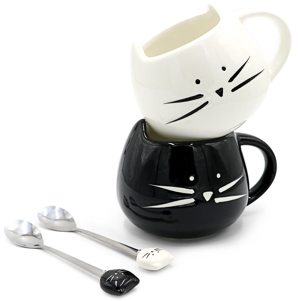 Teagas Cat Coffee Mugs for Boyfriend or Husband - Black & White Ceramic Cat Coffee Mugs and Cute Cat Spoons Set(China (Mainland))