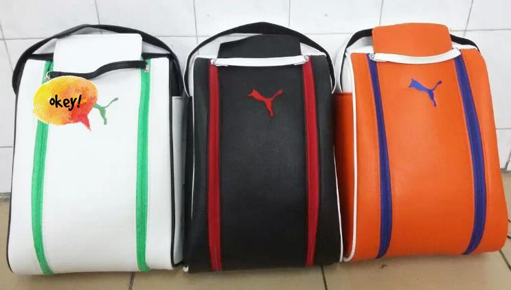 2015 promotion fashion pu ma free shipping New female le golf shoes bag PU shoe bag golf unisex shoes bags wholesale price(China (Mainland))