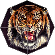 Cool tiger Custom Personalized Portable Triple Foldable Sun and Rain Umbrella FREE SHIPPING SQ0624-JK78(China (Mainland))
