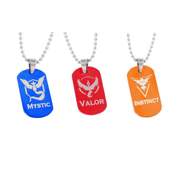 3Colors New Pokemon Go Dog Tag Necklace Game Anime Metal Alloy Team Valor Mystic Instinct Logo Bead Chain for Women and Men fans(China (Mainland))