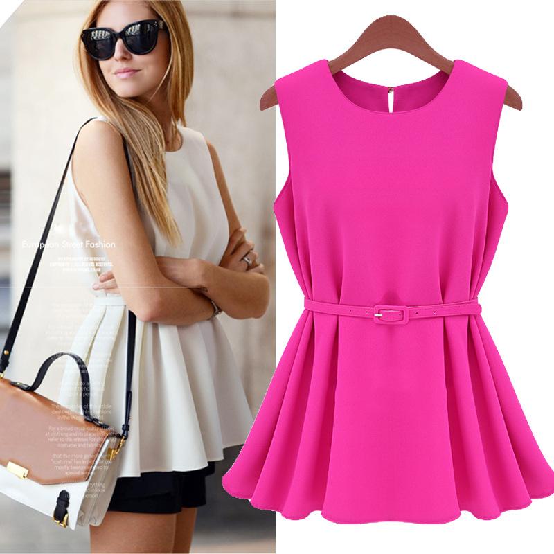 With Belt  Plus Size 2015 Casual Blusas Femininas Women Blouses Chiffon Vest Top Shirt Slim Renda Women Clothing Roupas(China (Mainland))