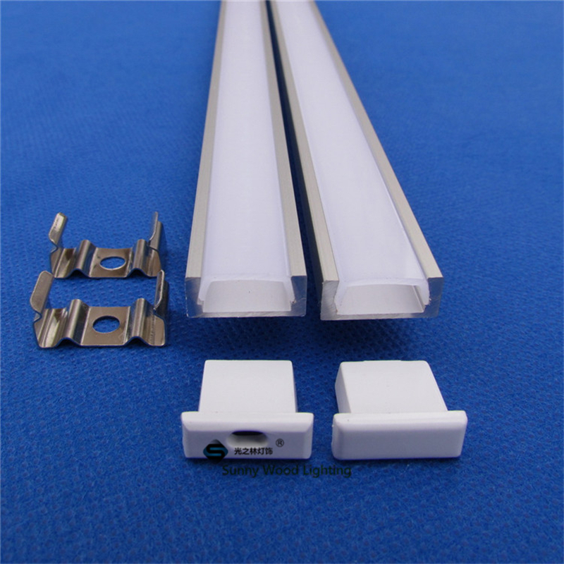 Free shipping aluminum profile for led strip,milky/transparent cover for 10mm 5050 strip with fittings LED bar light CC-1607(China (Mainland))