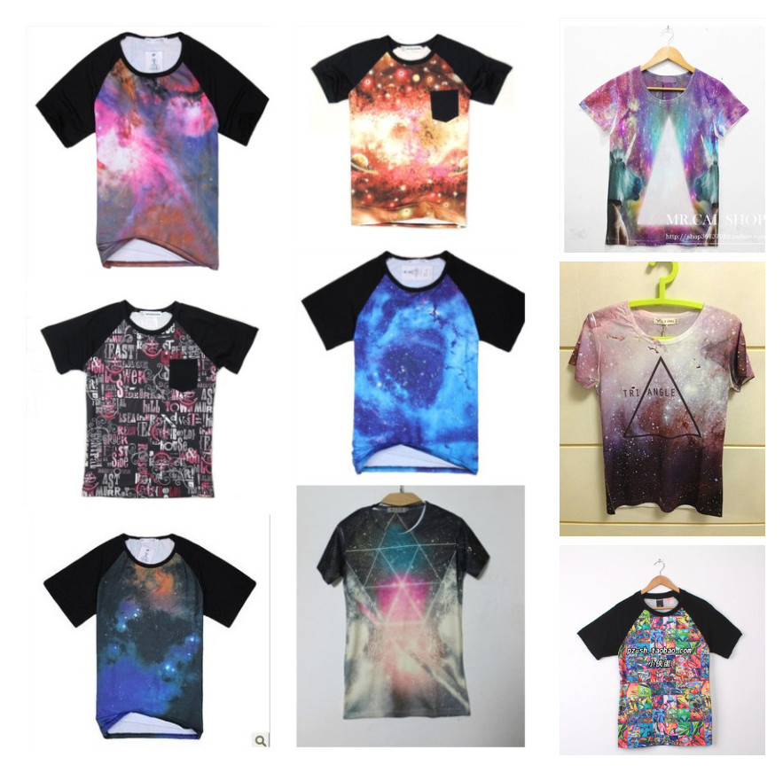 Free Shipping Summer HARAJUKU west coast galaxy space tie-dyeing women's men's lovers short-sleeve T-shirt japan fashion blouse(China (Mainland))