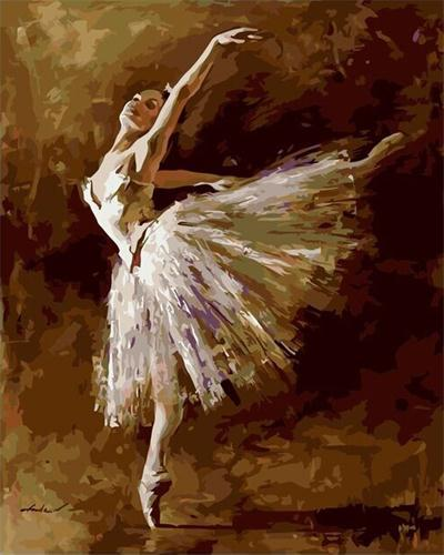 Frameless Pictures Painting By Numbers Hand Painted Canvas Drawing Diy Oil Painting Wall Sticker 40*50cm Ballet Queen G408(China (Mainland))