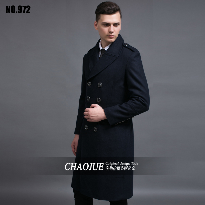 Long black wool coat male 2016 spring and autumn fashion turn-down collar plus size mens wool coats man overcoats free shipping(China (Mainland))