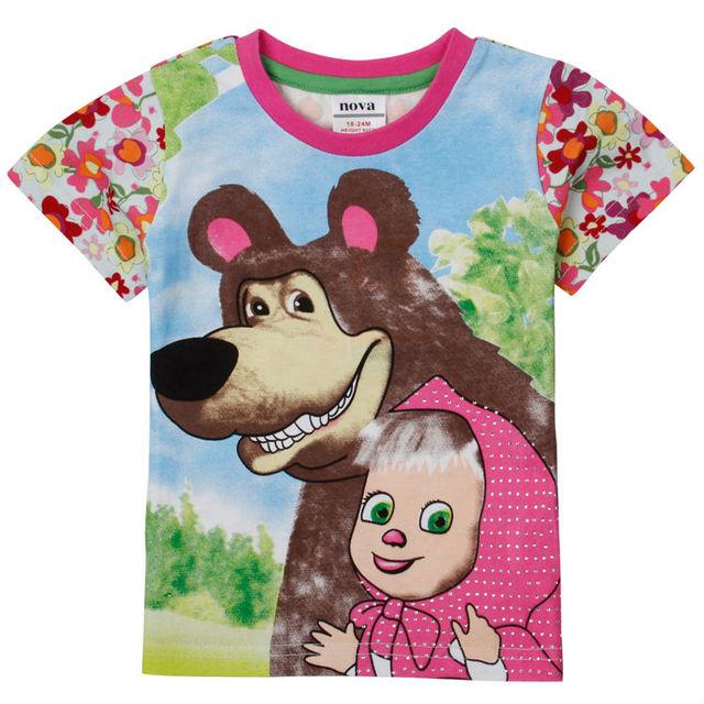 Маша и медведь детей майка летняя девушка с коротким рукавом хлопок футболки для девушки-нова : дети девушка милая свободного покроя девушка одежда