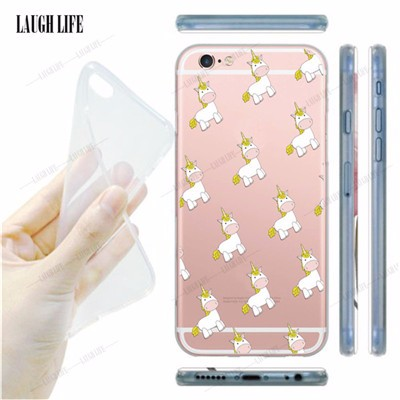 Cell Phone Cases for Apple iPhone 5s 6 6s 6plus New Arrival Cute Unicorn Horse Case Cover Soft Silicone TPU Clear Coque Cover