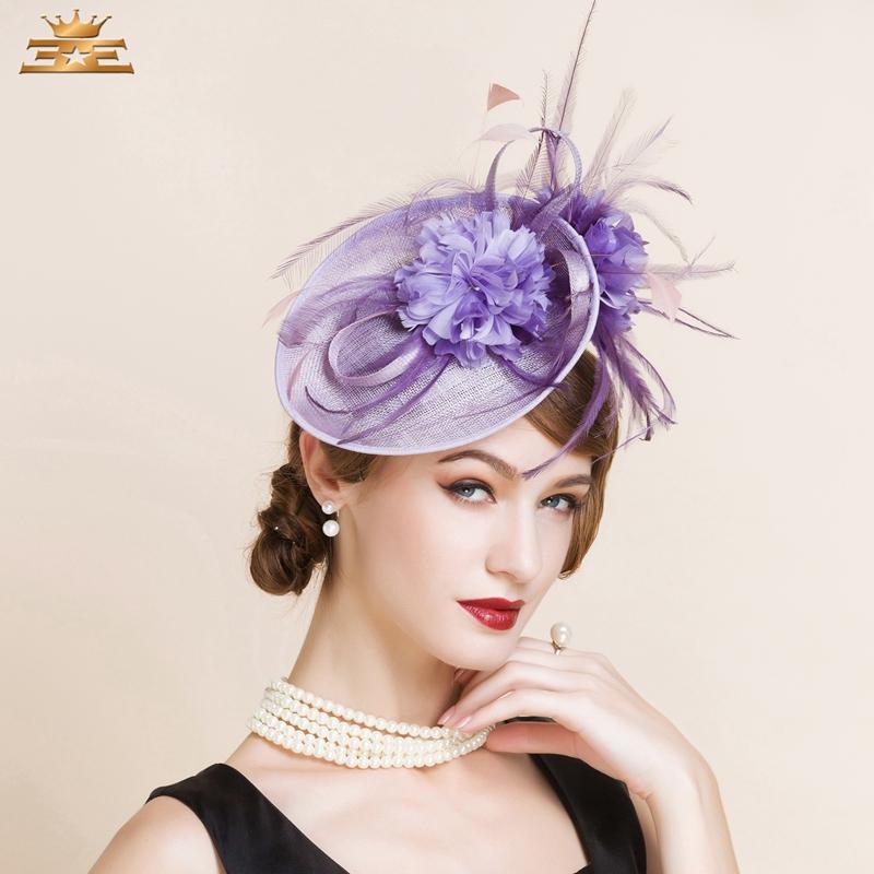 Classic Purple Ladies Sinamay Wedding Fascinator Hats Elegant Bridal Cocktail Hats with Flower Feather Wedding sombreros bodas(China (Mainland))