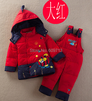 2014 Baby Fish Down Jacket Suit Set Toddler Quality Down Coat+Pants Sets Boys Girls Children Winter Clothing For Kids DA522