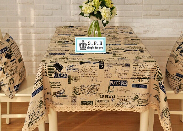 2015 New Vintage Europe Style English Letters Printing Tablecloth Thicken Cotton Linen Table cloth Linen Rectangular Table Cover(China (Mainland))