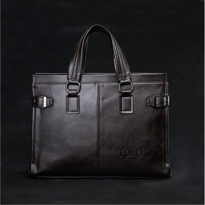 New Men brand POLO large Genuine leather bags mens handbag,high quality casual business man bag big men's Briefcase laptop bag(China (Mainland))