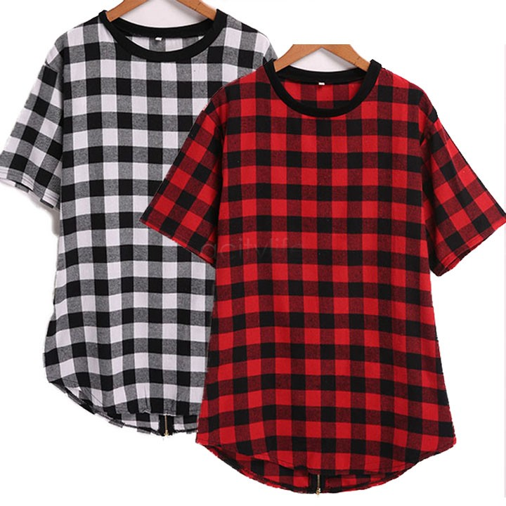 Tyga l k hip hop gold side zipper oversized plaid flannel for Oversized red plaid shirt