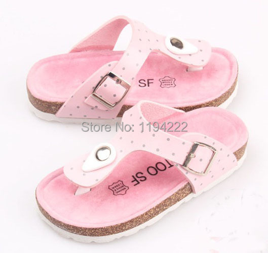 2014 Summer Sandals Children cork EVA sole flip-flop girls outdoor slippers printed dots - Summer's Leisure Shop store