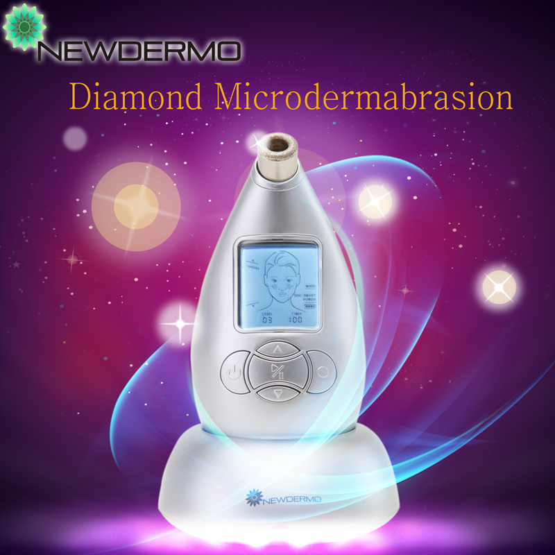 Silver Hot Handheld Personal Pro Diamond Microdermabrasion Machine For V Face Massage Remove Eye Bags Acne Marks Free Shipping(China (Mainland))