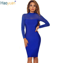 Buy HAOYUAN Women Sexy See Club Dress Bodycon Long Sleeve Slim Rayon Bandage Midi Dress Autumn Sexy Party Night Club Dress for $10.79 in AliExpress store