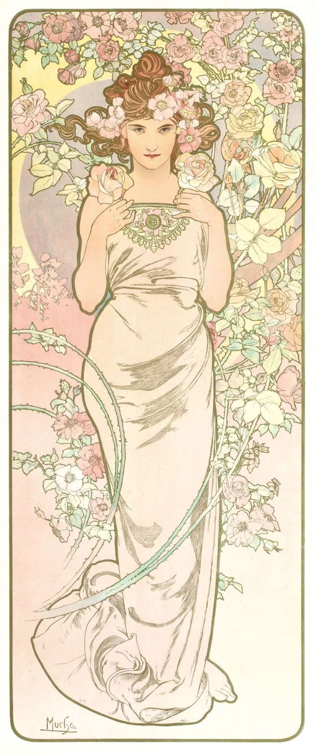 Ladies four Alphonse Mucha European style of the ancient decorative painting hotel cafe wall painting study core IKEA S(China (Mainland))