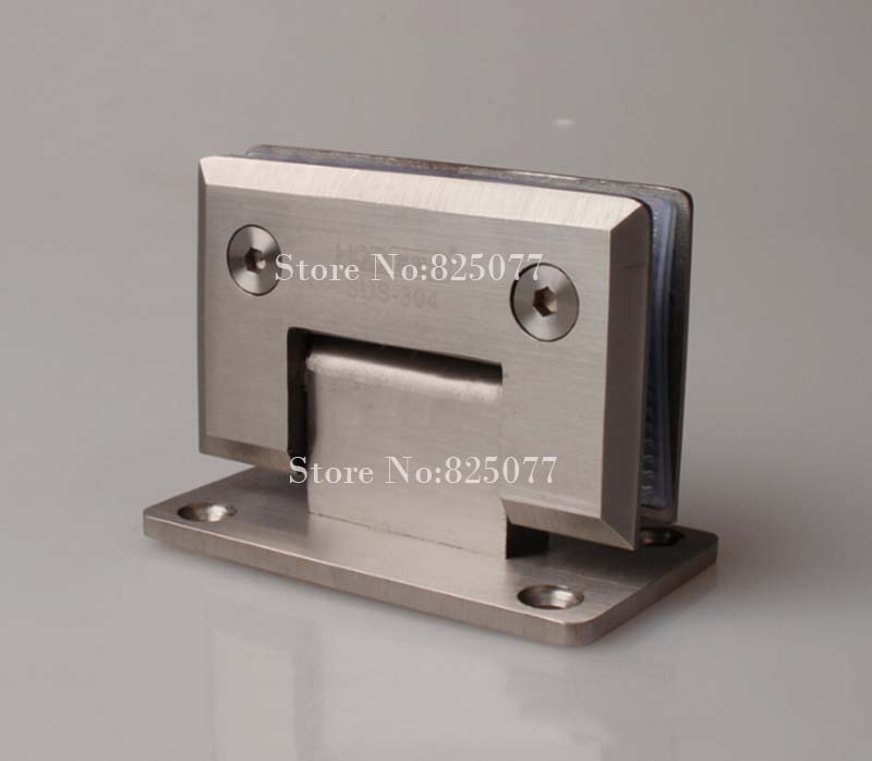 Free shipping High Quality Brushed 90 Degrees open Stainless Steel 304 Wall Mount Glass Shower Door Hinge Hypotenuse Hinge HM158(China (Mainland))