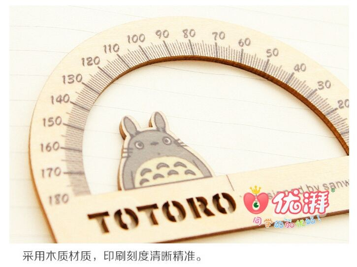 3Pcs/Pack Cute My Neighbor Totoro Wooden Ruler Measuring Straight Ruler +Protractor Triangle Ruler Drawing Tool Stationery Set